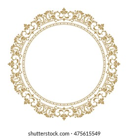 Decorative line art frames for design template. Elegant vector element in Eastern style, place for text. Golden outline floral border. Lace illustration for invitations and greeting cards