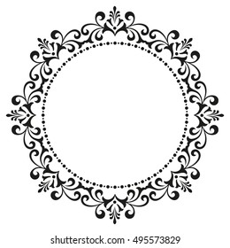 Decorative line art frames for design template. Elegant element in Eastern style, place for text. Black outline floral border. Lace vector illustration for invitations and greeting cards