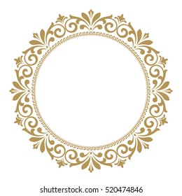 Decorative line art frames for design template. Elegant vector element for design in Eastern style, place for text. Golden outline floral border. Lace illustration for invitations and greeting cards.