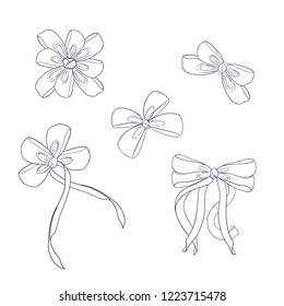 Decorative lineart of bow. Line drawing of ribbon