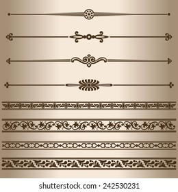 Decorative lines. Design elements - dividing lines and ornaments. Vector illustration.