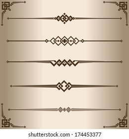 Decorative lines. Elements for design - decorative line dividers and corner ornament. Vector illustration.