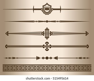 Decorative lines. Elements for design - decorative line dividers. Vector illustration.