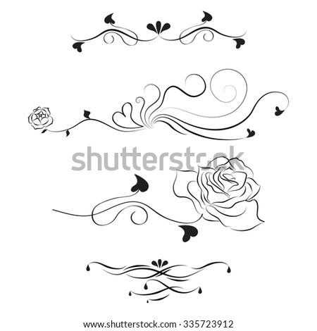 decorative lines roses design stock vector royalty free 335723912