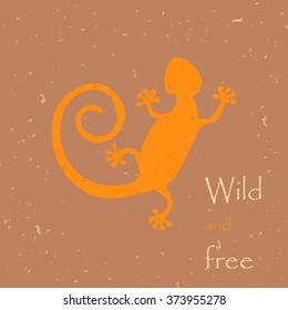 Decorative lizard with old print or stamp effect,  grunge texture. As a logo. symbol.  Grunge effects can be easily removed for a cleaner look.
