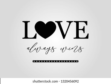 Decorative Love Always Wins Text with Rhinestone Ornament for Fashion and Poster Prints