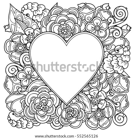 Decorative Love Frame Heart Flowers Ornate Stock Vector (Royalty ...