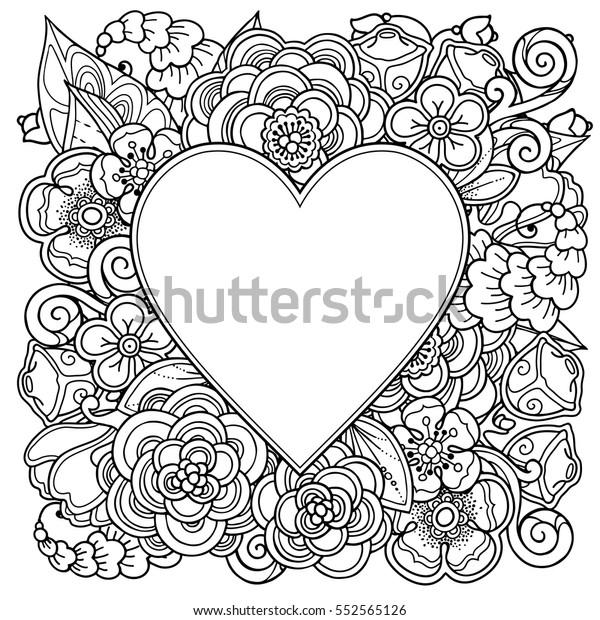 Vetor Stock De Moldura Decorativa De Amor Com Coracao Livre De