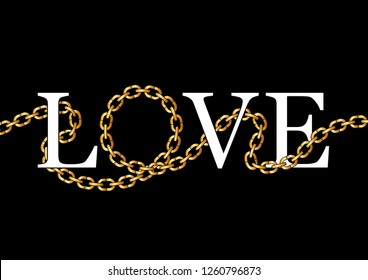 """Decorative """"Love"""" text with golden chain illustration"""