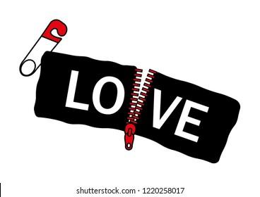 "Decorative ""LOVE"" text with zipper vector, fashion print design"