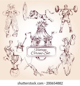 Decorative magic clown and circus animals lion elephant vintage symbols icons composition collection  doodle sketch vector illustration