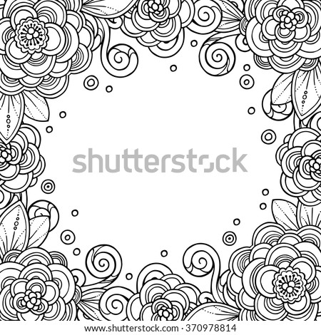 Decorative Magic Frame Flowers Ornate Elements Stock Vector (Royalty ...