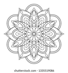 Decorative mandala Coloring page. Anti-stress coloring book page for adults. Hand drawn illustration, Black and white mandala vector isolated on white - Vector illustration