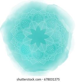 Decorative mandala design on a watercolour texture