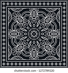Decorative mandala geometric floral background, lace pattern with frame border. Hand drawn line ornament. Bandanna shawl, tablecloth fabric print, silk neck scarf, kerchief design