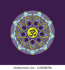 Decorative mandala pattern with om symbol. fit for print, poster, t-shirt etc.
