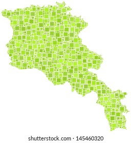 Decorative map of Armenia in a mosaic of green squares. A number of 2814 green squares are accurately inserted into the mosaic. White background.