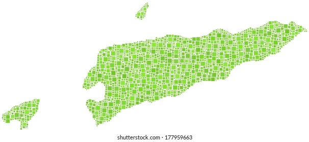 Decorative map of the Democratic Republic of Timor-Leste. Mosaic of green squares.