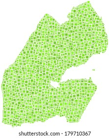 Decorative map of Djibouti - Africa - in a mosaic of green squares