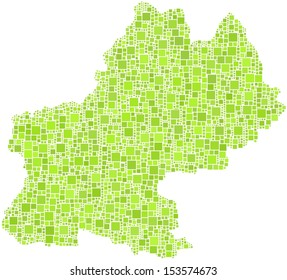 Decorative map of Midi-Pyr�©n�©es - France - in a mosaic of green squares