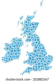 Decorative map of Great Britain and Ireland. A mosaic of little blue circles.