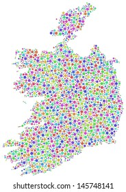 Decorative Map of Ireland - Europe - in a mosaic of harlequin circles