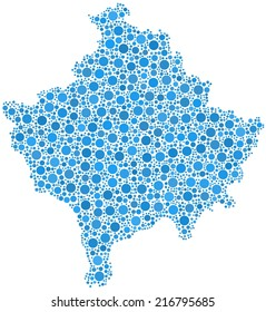 Decorative map of Kosovo - Europe - in a mosaic of blue little circles