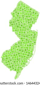 Decorative map of New Jersey - USA - in a mosaic of green squares