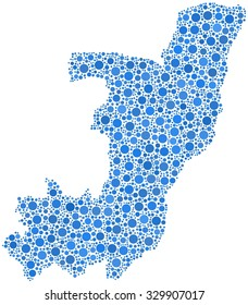 Decorative map of Republic of the Congo in a mosaic of blue bubbles