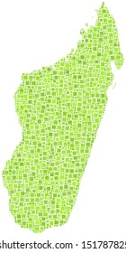 Decorative map of the Republic of Madagascar - Africa - in a mosaic of green squares