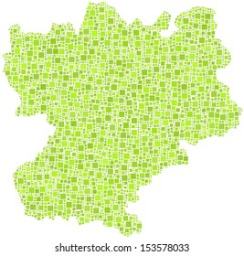 Decorative map of Rhone-Alpes - France - in a mosaic of green squares