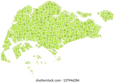 Decorative map of Singapore in a mosaic of little green squares. A number of 3702 little squares are accurately inserted into the mosaic. White background.