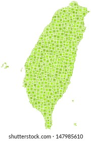 Decorative map of Taiwan - Asia - in a mosaic of green squares. A number of 2604 little squares are accurately inserted into the mosaic. White background.