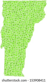 Decorative of map of Vermont - USA - in a mosaic of green squares
