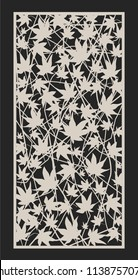 Decorative Maple leaves vector CNC Laser Cut Panel