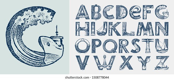 Decorative marine alphabet in ancient style. Waves and the sea in letters. Old Font for labels. Vintage typeface. Editable and layered monogram. Hand drawn engraved sketch. Vector illustration
