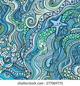 Decorative marine sea life ornamental ethnic vector background