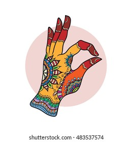 Decorative mehendi hand with henna tattoo. Tribal ethnic indian doodle mandala ornament. Vector illustration, isolated on a white background.