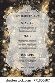 Decorative menu design for New Year's Eve