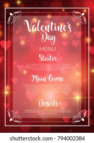 Decorative menu design for Valentine's Day with hearts background