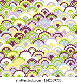 Decorative mermaid scales squama background, vector seamless fabric pattern, tiled textile print. Traditional japanese squama scales seamless arc tiles ornament. Snake skin pattern.