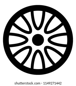 Decorative metal disk inside tire denoting car hubcap