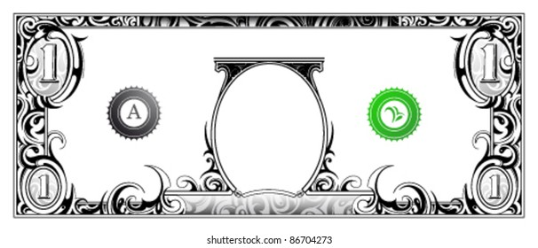 Decorative money banknote based on one dollar bill