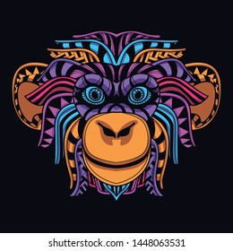 decorative monkey face from glow neon color