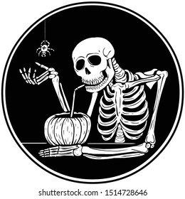 Decorative monochrome circle symbol in Aestheticism style. Skeleton in a bar on Halloween drinking pumpkin juice.
