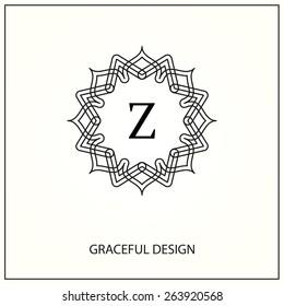 Decorative  monogram. Element for logo design.  Vector illustration. Letter Z.