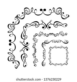 Decorative monograms and calligraphic borders. Template signage, logos, labels, stickers, cards. Graphic design page. Classic design elements for wedding invitations