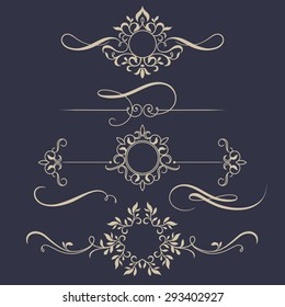 Decorative monograms and calligraphic borders. Template signage, logos, labels, stickers, cards. Graphic design page. Classic design elements for wedding invitations.