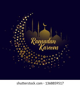 decorative moon design ramadan kareem background
