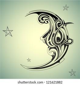 Decorative moon shape on the night sky